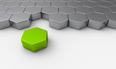 green building: Hexagon building blocks concept Green Leader