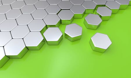 buildup: Hexagon building blocks silvergreen