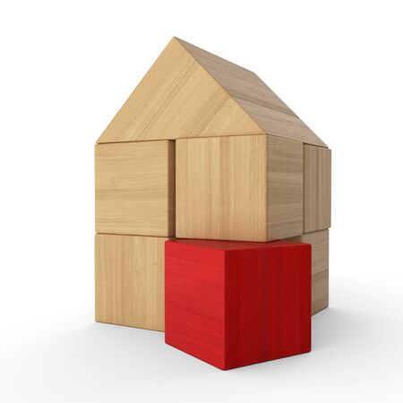 Wood bricks House Concept red 5 Stock Photo