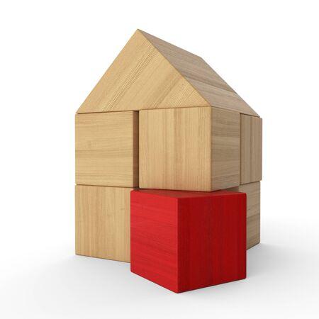 buildup: Wood bricks House Concept red 5 Stock Photo