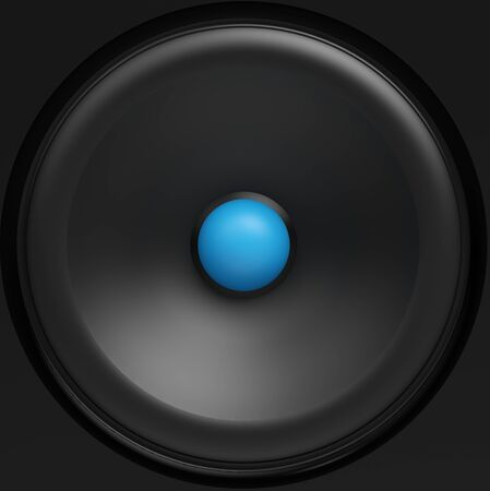 black loudspeaker with blue center Stock Photo