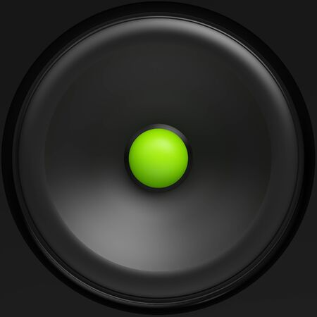 black loudspeaker with green center Stock Photo