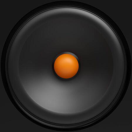 주황색 센터가있는 검은 색 라우드 스피커