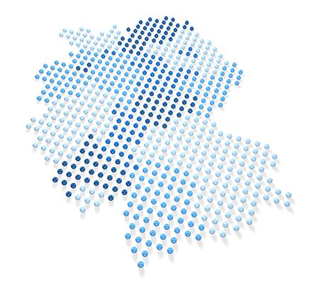 Blue Germany Map made out of spheres Stock Photo