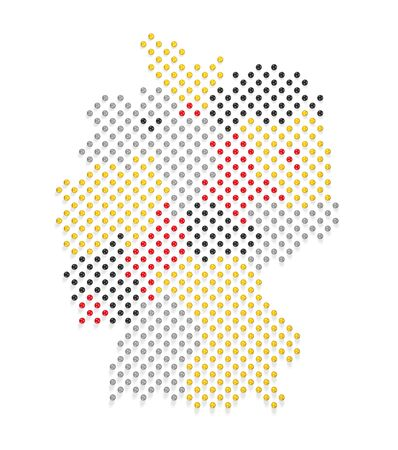 Germany Map and Flag colors made out of spheres Stock Photo