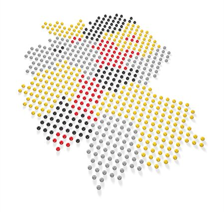 Germany Map and Flag colors made out of spheres 3