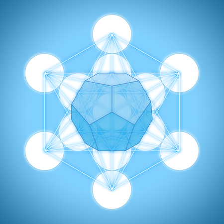 Metatrons cube with platonic solids - dodecahedron Stock Photo