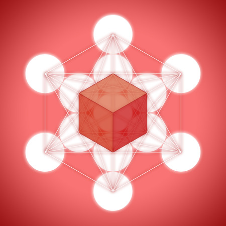tetrahedron: Metatrons cube with platonic solids - hexahedron