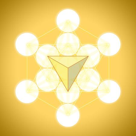 golden ratio: Metatrons cube with platonic solids - tetrahedron Stock Photo