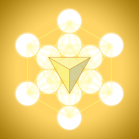 Metatrons cube with platonic solids - tetrahedron Stock Photo
