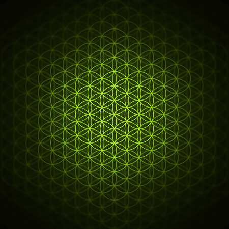 genesis pattern - the flower of life green