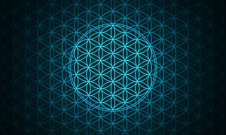 the flower of life - genesis pattern blue Standard-Bild
