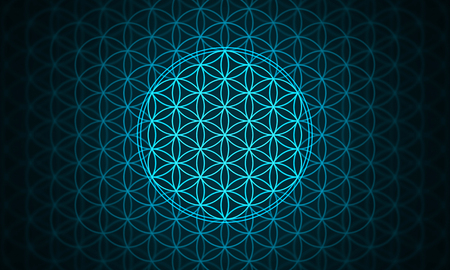 the flower of life - genesis pattern blue Stock Photo