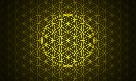 the flower of life - genesis pattern yellow