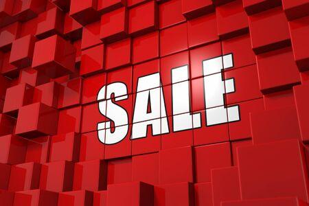 discount banner: 3D Illustration Cube Concept - Sale Stock Photo