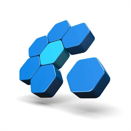 3D Illustration - Flying Hexagon Concept Blue