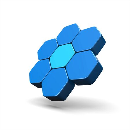 3D Illustration - Flying Hexagon Concept Blue 2 Stock Photo