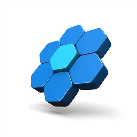 3D Illustration - Flying Hexagon Concept Blue 3
