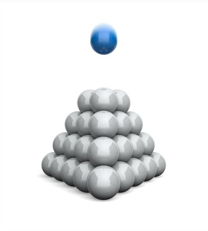 3D Illustration Ball pyramid concept blue 8 Stock Photo