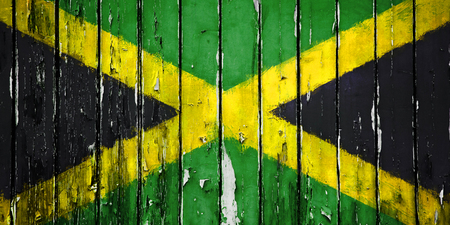 jah: Illustration Flag of Jamaica on wooden background Stock Photo