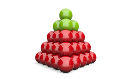 differentiation: 3D Illustration pyramid ball concept green red 2 Stock Photo
