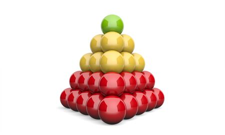 hierarchy: 3D Illustration pyramid ball concept green yellow red Stock Photo