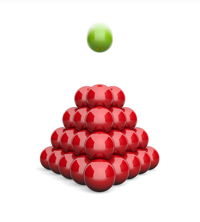 3D Illustration pyramid flying ball concept green red