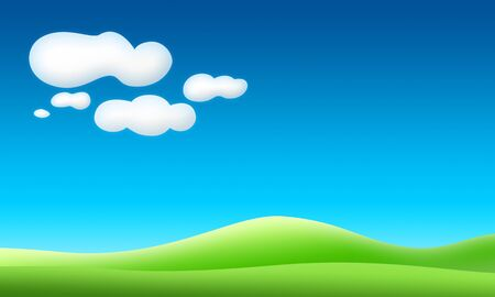 tiny green landscape illustration with clouds