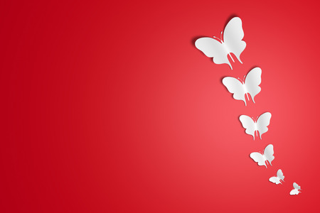3D Illustration Background red Butterflies in a row