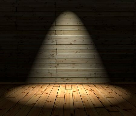 3D Illustration - wood floor and background with 1 Spotlight