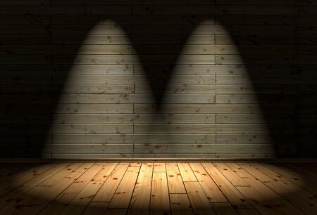3D Illustration - wood floor and background with 2 Spotlights Stock Photo