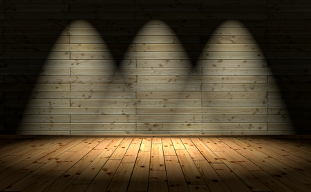 3D Illustration - wood floor and background with 3 Spotlights