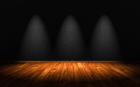 3D Illustration - wood floor background with 3 Spotlights