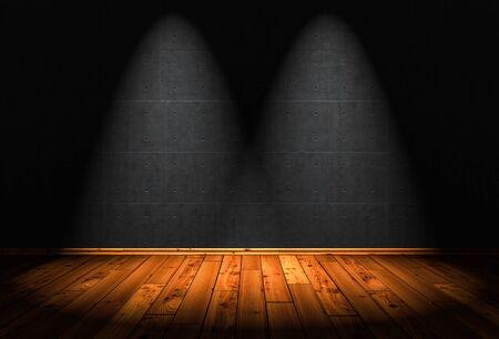 Ilustración 3D - fondo de piso de madera con 2 focos Foto de archivo - 85552366