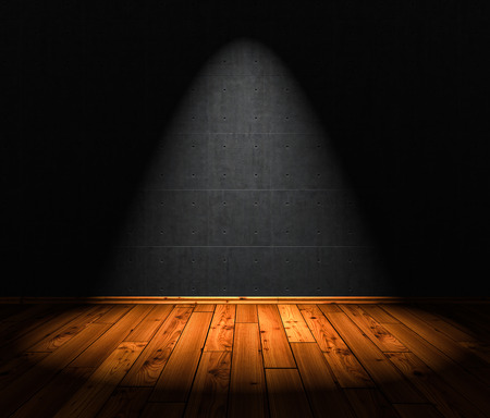 3D Illustration - wood floor background with 1 Spotlight