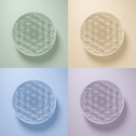 reiki: 3D Illustration - Collection of Flower of Life Signs