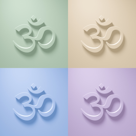 3D Illustration - Collection of Om  Aum Signs Stock Photo