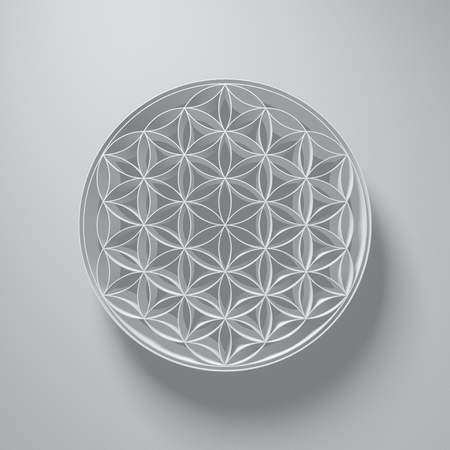 reiki: 3D Illustration - Flower of Life Sign with light above on grey background Stock Photo