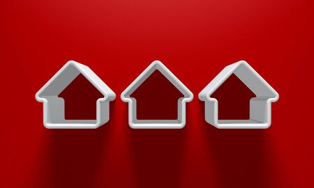 construction: 3D Illustration - 3 White house silhouettes with light above on red background