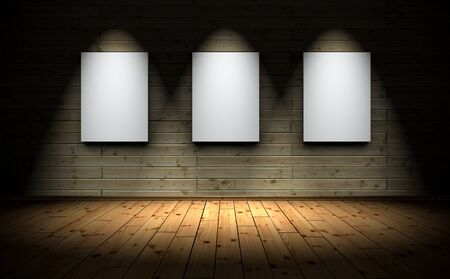 3D Illustration - 3 canvas with Spotlights and wood floor background