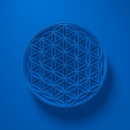 reiki: 3D Illustration - Flower of Life Sign with light above on blue background