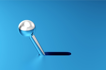 3D Illustration silver switch on blue background 3