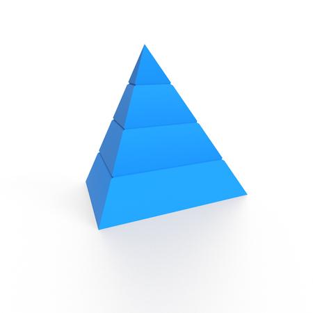 3D Illustration - Blue pyramide on white background