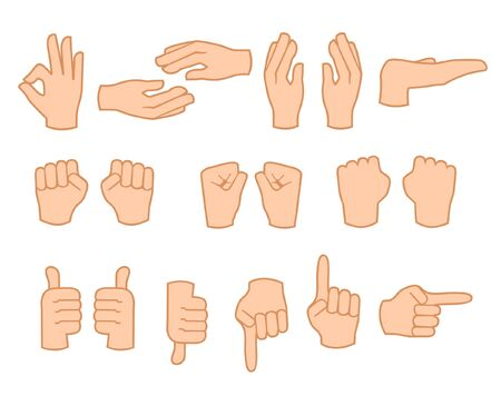 Hand set, isolated, vector illustration Illustration