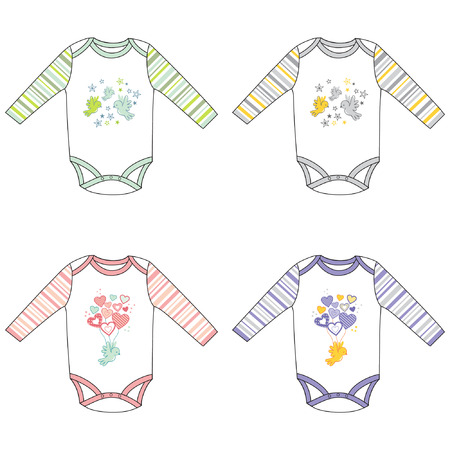 Long sleeve baby bodysuits with cute design, vector illustration