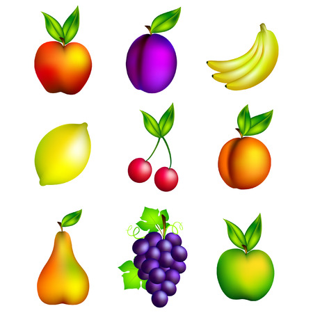 Set of various fruits, illustration,  isolated on white background