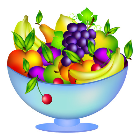 Fresh fruit in a bowl, illustration, isolated on white background