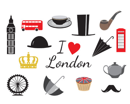 english culture: I love London symbol icons, vector illustration, isolated