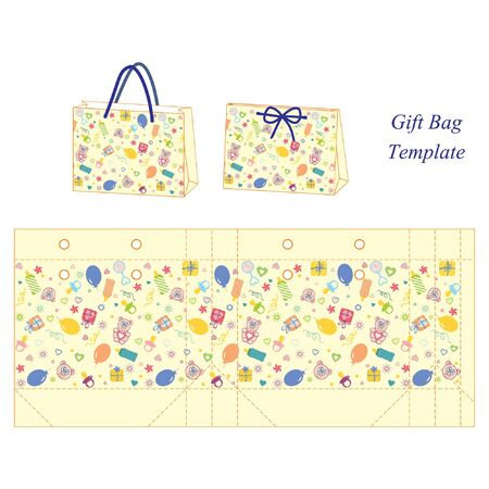 favor: Yellow gift bag with baby accessories pattern, vector
