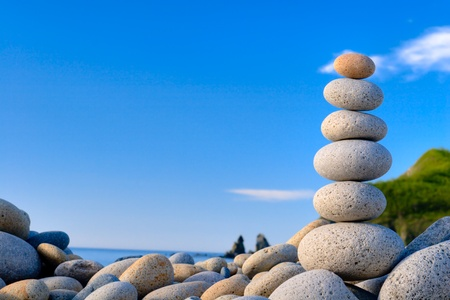Round stones for meditation laying on seacoast Stock Photo